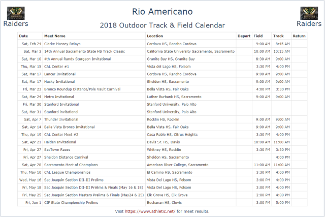 The Rio Americano 2018 Outdoor Track & Field Meet Schedule