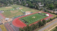 Birds-eye view of new all-weather tracks and fields at Bella Vista and Rio Americano high schools.