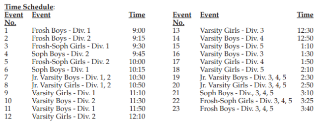 2019 CIF Sac-Joaquin Sub-section Schedule